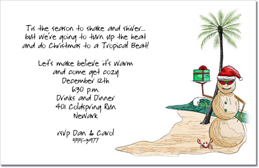 beach sandman with gifts holiday party invitation