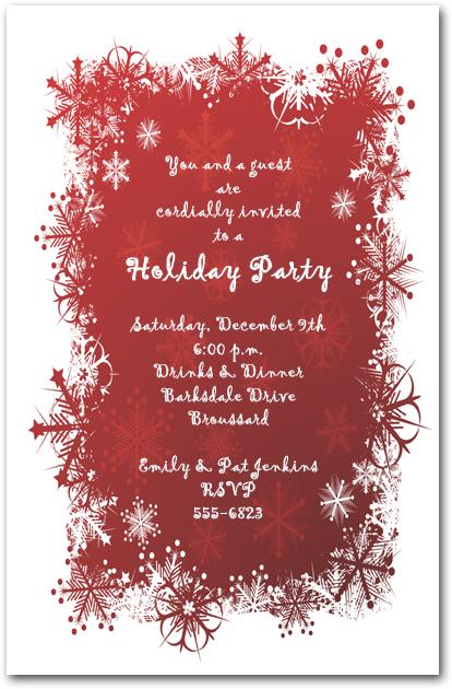Snowflakes On Red Holiday Invitation Christmas Invitations
