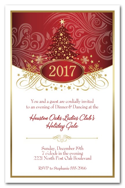 Red Tree Swirls  Stars Holiday Party Invitations Christmas Invitations