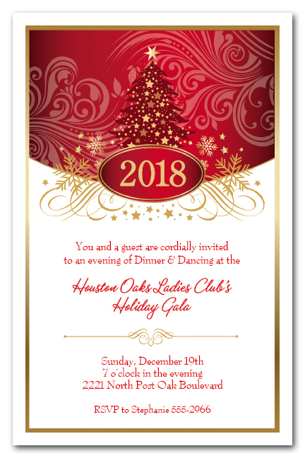 Red Tree Swirls Stars Holiday Christmas Party Invitations