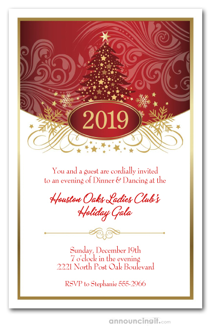 Christmas Party Invitation.Swirled Red Christmas Tree Holiday Party Invitations