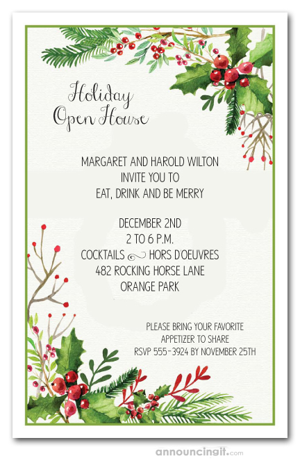Christmas Invitation.Watercolor Mistletoe Holiday Invitations