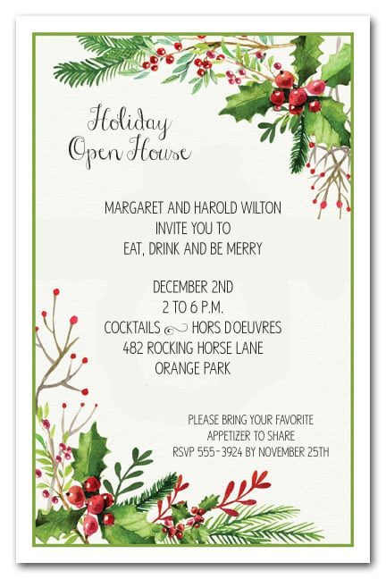 Watercolor Mistletoe Berries Holiday Christmas Party Invitations