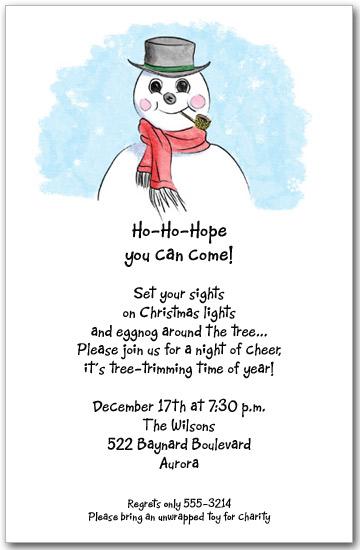 sammy snowman invitations  christmas invitations  holiday party invitations
