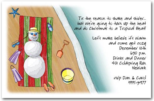 sunning snowman invitation tropical christmas party invitation