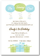 Blue and Green 1st Birthday Presents & Balloons Invitation
