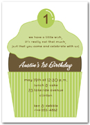Cherry Topped Green 1st Birthday Cupcake Invitation
