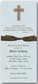 Boy First Communion: Brown Cross on Shimmery Aqua Invitation with Brown Bow & matching envelopes