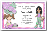 BFF Sleepover Girls Party Invitation