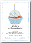 Blue Birthday Cupcake Party Invitations