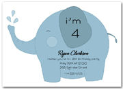Blue Baby Elephant Birthday Party Invitation