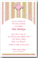 Baptism, Christening, Communion: Julia's Pink Cross Religious Invitations