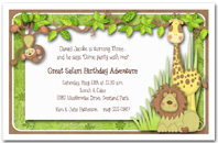 Jungle Hangout First Birthday Party Invitation