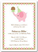 Pink Elephant & Cupcake First Birthday Party Invitations