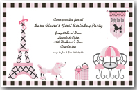 Pink Poodle in Paris Girls Birthday Invitation