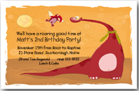Red Dinosaur Invitation