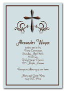 Baptism, Christening, Communion: Swirls & Brown Cross on Shimmery Blue Invitation & matching envelop