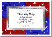 Stars on Red & Blue invitation, 4th of July invitation, patriotic party invitation