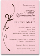 Flourish on Pink Girl First Communion Invitation