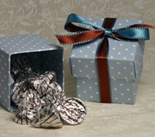 Blue Polka Dot Favor Box - 2 pieces - 2 inch x 2 inch x 2 inch