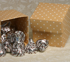 Taupe Polka Dot Favor Box 2 inch square two piece boxes