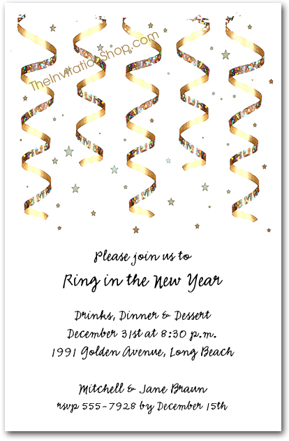 gold streamers new years eve party invitations