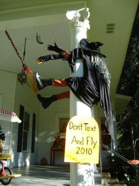 Graduation Theme Ideas: Halloween Witch's Warning On Texting And Flying