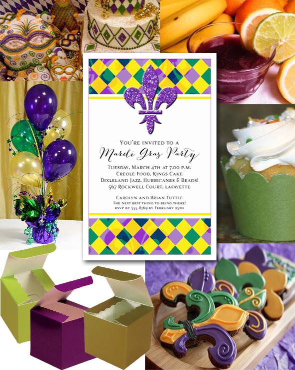 Mardi Gras Harlequin And Fluer De Lis Party Invitations