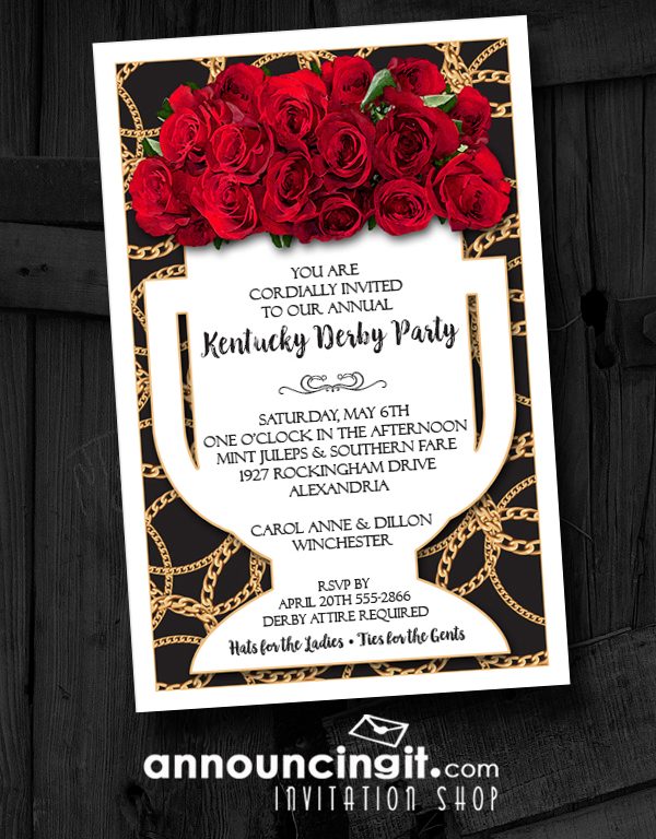 vase of roses on black kentucky derby party invitations