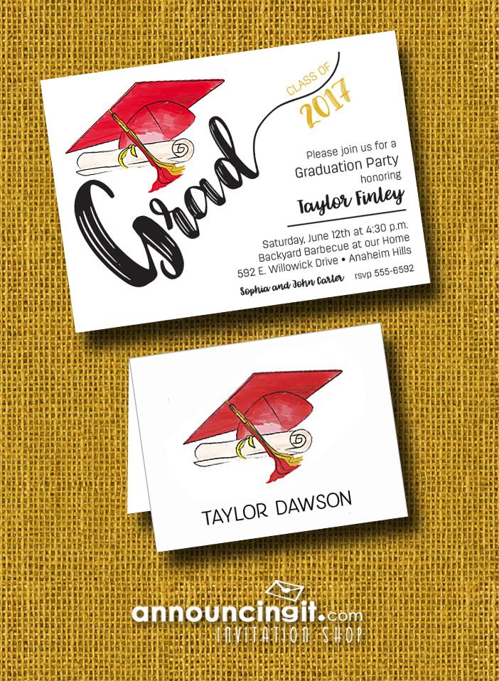 Graduation-Party-Invitations-Red-Gold-Cap-Tassel-P | AnnouncingIt ...