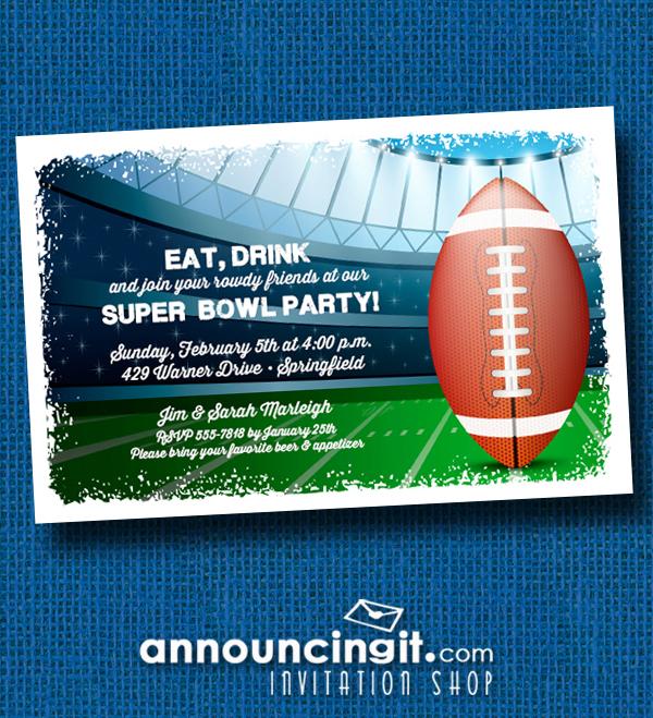 Stadium Super Bowl Party Invitations