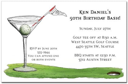 19th Hole Martini Party Invitations Golf Outing