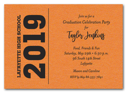 Bold Year Shimmery Orange Graduation Invitations