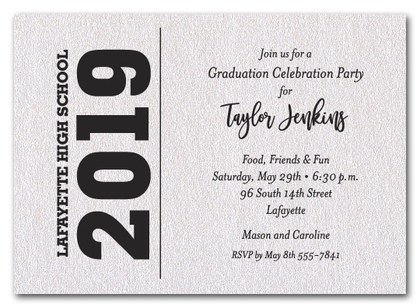 Bold Year Shimmery White Graduation Invitations