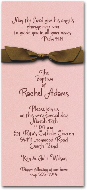 Pink & Brown Ribbon Baptism
