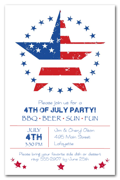 American Stars 4th of July Invitations