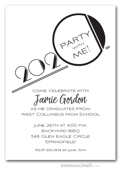 Art Deco Black Graduation Party Invitations