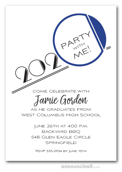 Art Deco Blue Graduation Party Invitations