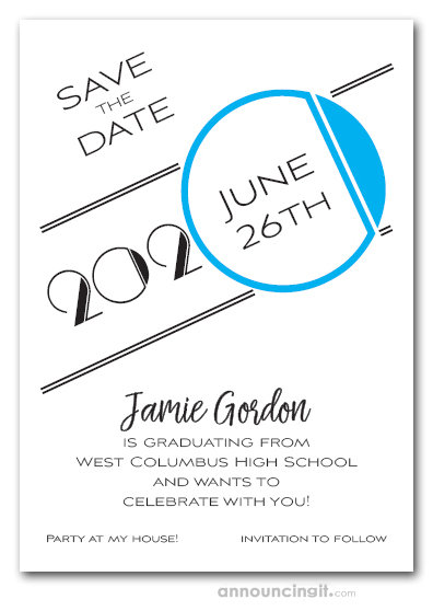 Art Deco Turquoise Graduation Save the Date Cards