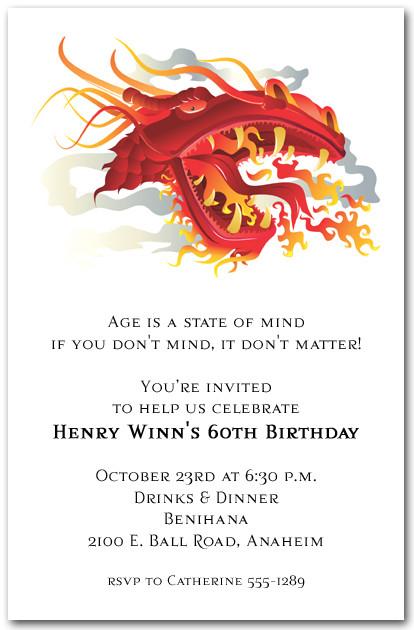 Asian Fire Dragon Invitations