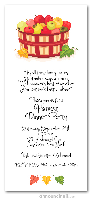 Bushel of Apples Party Invitations