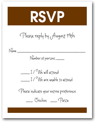 White & Brown RSVP Card #3