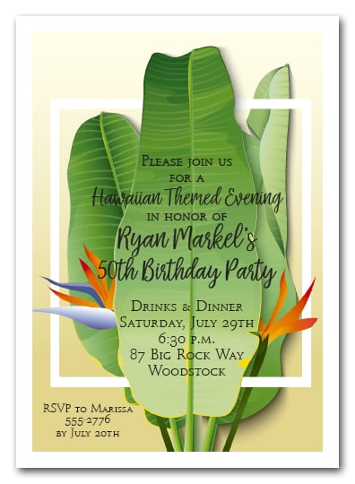 Banana Leaves Tropical Party Invitations, Summer Invitations