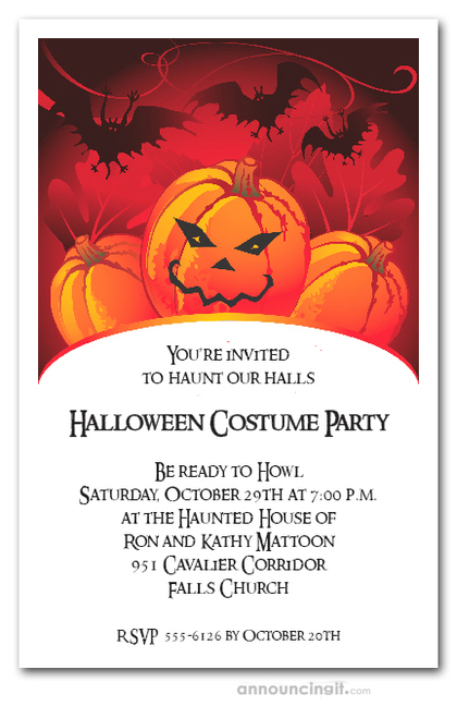 Bats and Mad Jack Halloween Invitations