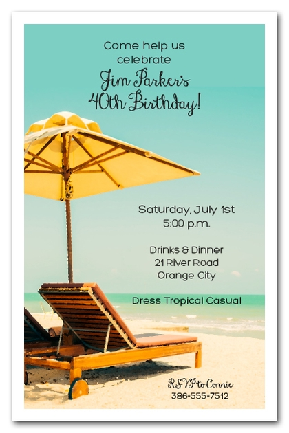 Beach Bed & Umbrella Summer Party Invitations