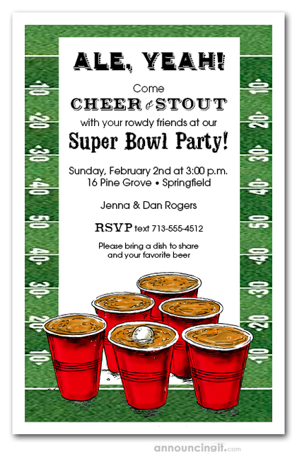 Beer Pong Football Super Bowl Invitations