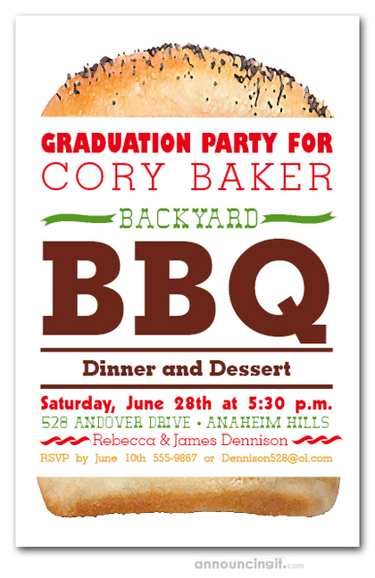 Billboard Hamburger Graduation Party Invitations