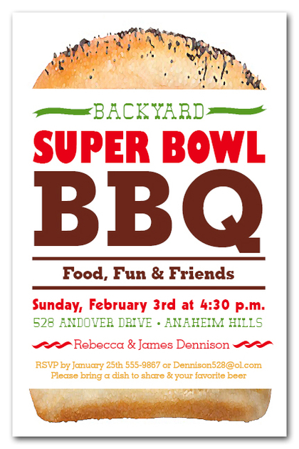 Tall Hamburger Super Bowl BBQ Invitations