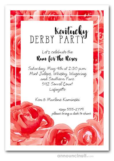 Blooming Red Roses Kentucky Derby Invitations