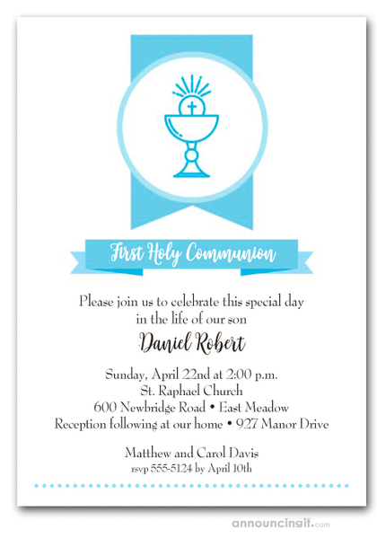 Blue Chalice Banner First Communion Invitations